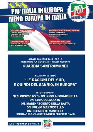 """Guardia Sanframondi, convegno di Forza Italia dal titolo: """"Le Ragioni del Sud, e quindi del Sannio, in Europa"""""""