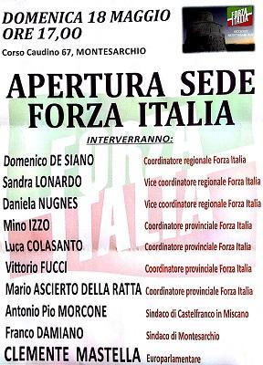 Oggi apertura sede di Forza Italia di Montesarchio