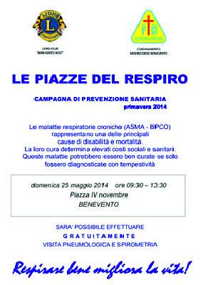 """""""Le Piazze del Respiro"""" è l'iniziativa dei Lions club """"Benevento Host"""" insieme con la Misericordia di Benevento e Torrecuso"""