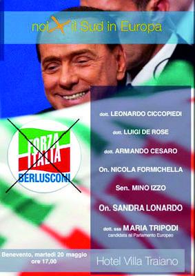 """Forza Italia, """"Noi x il sud in Europa"""": è il tema del convegno in programma domani 20 Maggio presso l'Hotel Villa Traiano."""