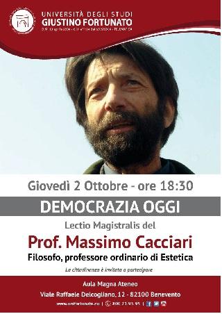 Il 2 Ottobre il prof. Massimo Cacciari terrà una Lectio Magistralis all'Unifortunato di Benevento