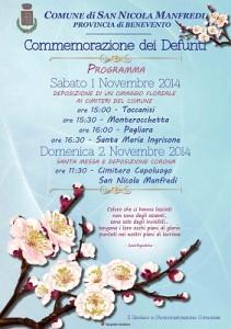 Il Comune di San Nicola Manfredi rende noto il programma per la commemorazione dei defunti