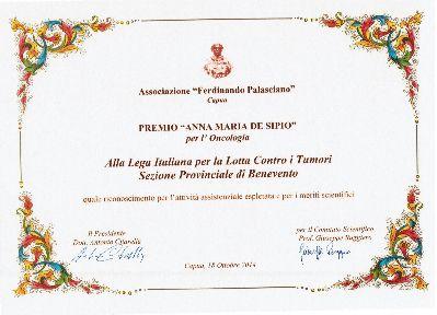 Prestigioso riconoscimento alla Lega italiana per la Lotta contro i Tumori (LILT)