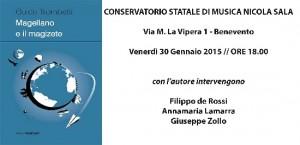 """Il 30 gennaio presso il Conservatorio di Musica """"Nicola Sala"""" sarà presentato il nuovo romanzo""""Magellano e il magizete"""" di Guido Trombetti."""