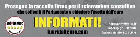 Meetup di Benevento del Movimento 5 Stelle: sabato 21 e domenica 22 febbraio, raccolta firme per conoscere il parere degli italiani sulla permanenza nell'area euro.