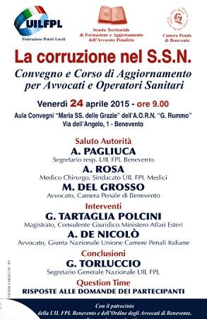 """Domani 24 Aprile il convegno """"La corruzione nel sistema sanitario nazionale"""""""