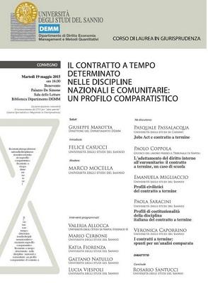"""Domani  19 maggio, presso il Palazzo De Simone il Convegno """"Il contratto a tempo determinato nelle discipline nazionali e comunitarie"""""""
