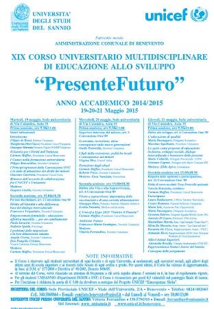 """XIX Unisannio- Unicef : XIX Corso di Educazione allo Sviluppo """"presente Futuro"""" dal 19 Maggio"""