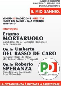 A Benevento arriva l'on. Speranza per un'incontro pubblico con Erasmo Mortaruolo ed il Sottosegretario Del Basso De Caro