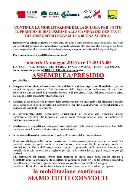Continua la mobilitazione della scuola per tutto il periodo della discussione del disegno di legge