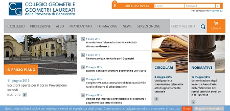 Collegio dei Geometri e Geometri Laureati di Benevento: on line il nuovo sito