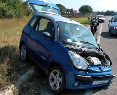 Spettacolare incidente sulla S.S. 212 presso Pietrelcina
