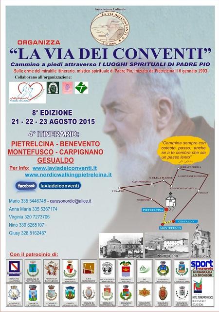 """Inizia il prossimo 21 agosto 2015 la tre giorni dedicata a """"La Via dei Conventi""""."""