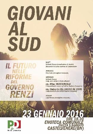 """Circolo (PD) Castelvenere """"Giovani al Sud: il futuro nelle riforme del Governo Renzi"""" se ne parlerà domani 23 Gennaio"""