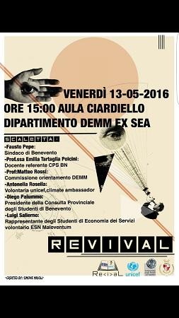 Revival: l'evento sarà presentato dagli studenti in conferenza il giorno 13 Maggio