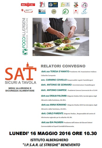 """Sicurezza Alimentare,Progetto SAT. Se ne discuterà il 16 Maggio presso l'Istituto per i Servizi Alberghieri """"Le Streghe"""""""