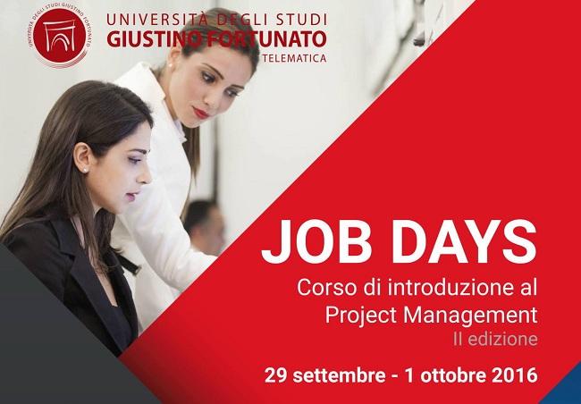 Job Days Corso in Project Management la seconda edizione all'Unifortunato