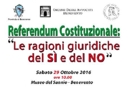 Confronto tra  Costituzionalisti sul Referendum il 29 Ottobre al Museo del Sannio