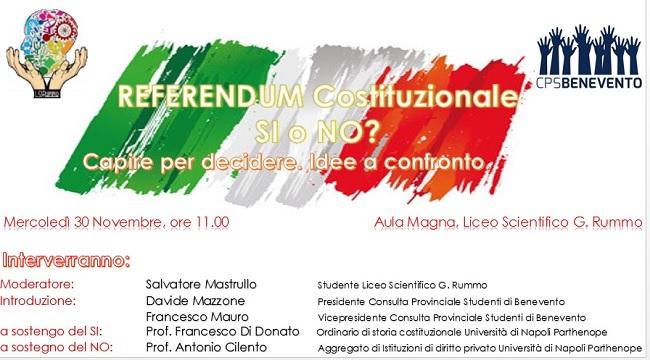 Consulta Provinciale degli Studenti di Benevento: il 30 Novembre incontro sul Referendum Costituzionale