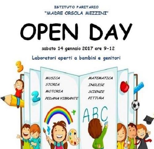 """Open day all' Istituto scolastico di Benevento """"Madre Orsola Mezzini"""" sabato 14 gennaio"""