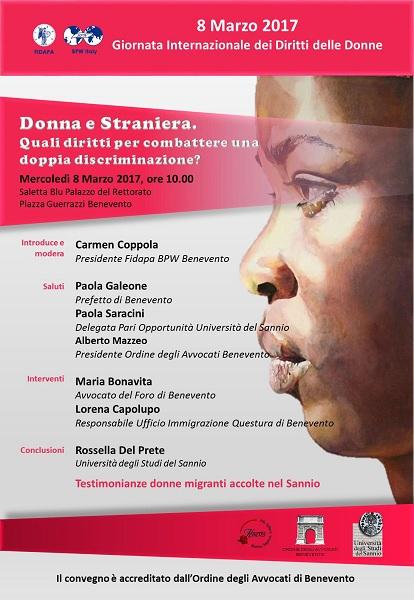 """Giornata Internazionale della Donna. Convegno a tema :  """"Donna e straniera: Quali diritti per combattere una doppia discriminazione?"""""""