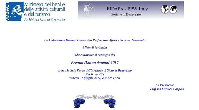Premio Donna Domani istituito dalla FIDAPA a Barbara Valletta
