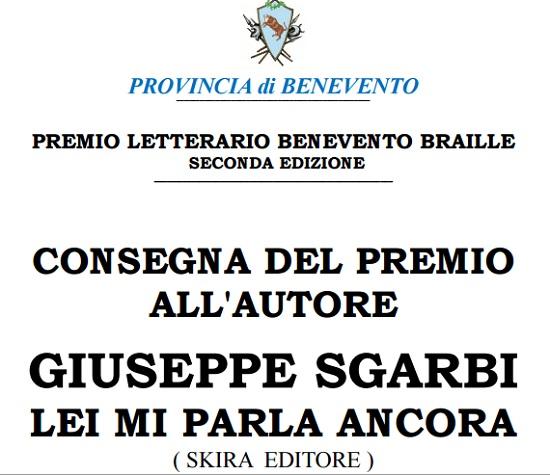 Premio Letterario Benevento Braille: il 25 giugno presso la Rocca dei Rettori.