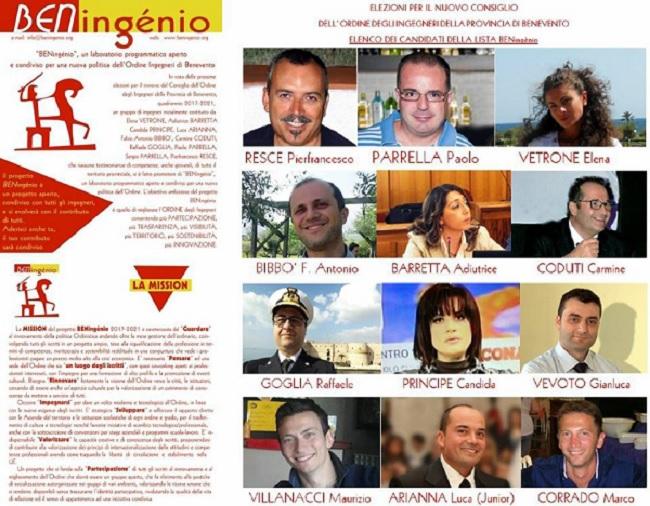 Benevento. Rinnovo del Consiglio dell'Ordine degli Ingegneri: ecco la lista BENingénio 2017-2021