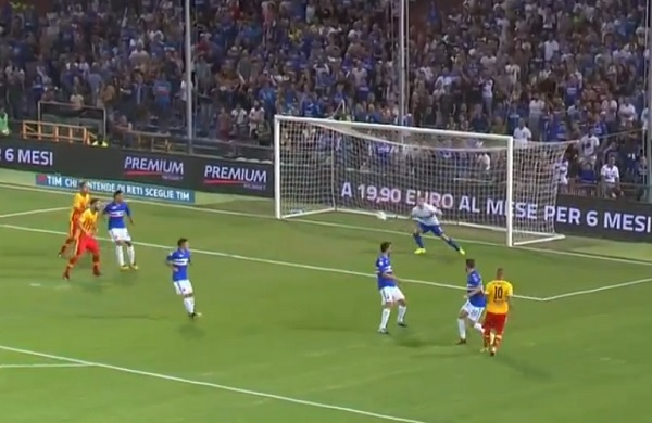Benevento sconfitto dalla Samp a Genova ma ha giocato una buona partita