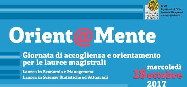 Unisannio: Orient@Mente Giornata di accoglienza e orientamento per le lauree magistrali