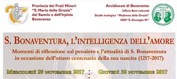 Convegno su San Bonaventura: si terrà nei giorni 29 e 30 novembre presso il Seminario Arcivescovile di Benevento