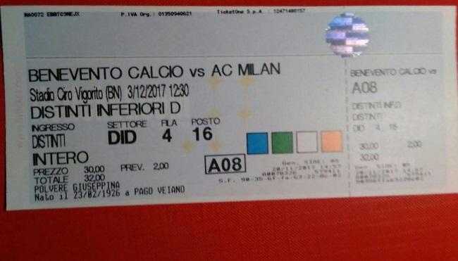 92 anni, di Pago Veiano, domani al Vigorito per tifare Milan