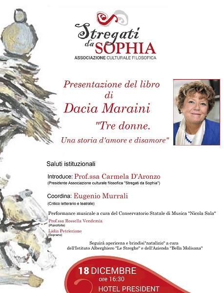 """"""" Stregati da Sophia"""" ospiterà il 18 dicembre la scrittrice Dacia Maraini"""