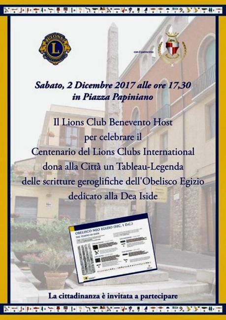 Il Lions Club Benevento Host dona alla città un Tableau-Legenda dei geroglifici dell'Obelisco Egizio