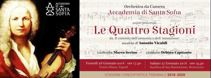 """Orchestra da Camera dell'Academia di Santa Sofia: sabato 27 Gennaio  """"Le Quattro Stagioni"""" di Vivaldi."""