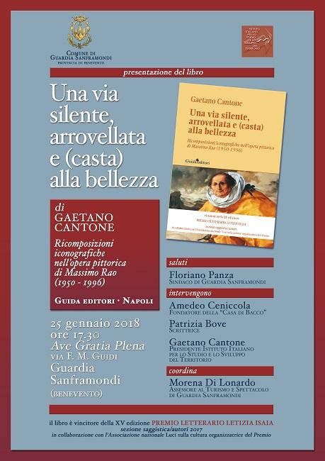 """Guardia Sanframondi, giovedì 25 la presentazione del libro """"Una via silente, arrovellata e (casta) alla bellezza"""""""