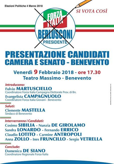 Venerdì 9 Febbraio al Teatro Massimo di Benevento presentazione dei candidati di Forza Italia