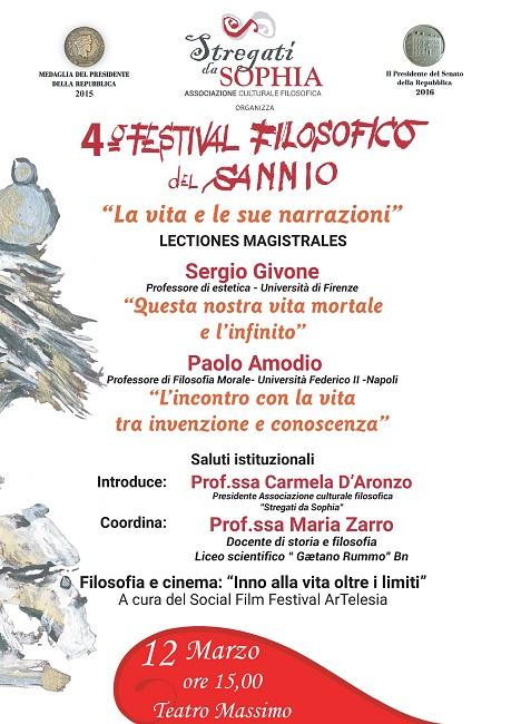 """4° Festival Filosofico del Sannio. """"La vita e le sue narrazioni"""" è il tema del 7° appuntamento"""