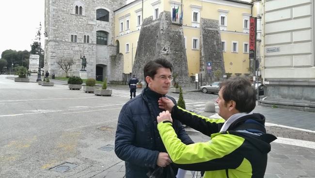 Giovanni Muciaccia e la RAI in visita in città.