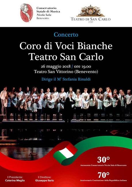 Il Coro di Voci Bianche del S. Carlo al Teatro San Vittorino domani 26 Maggio
