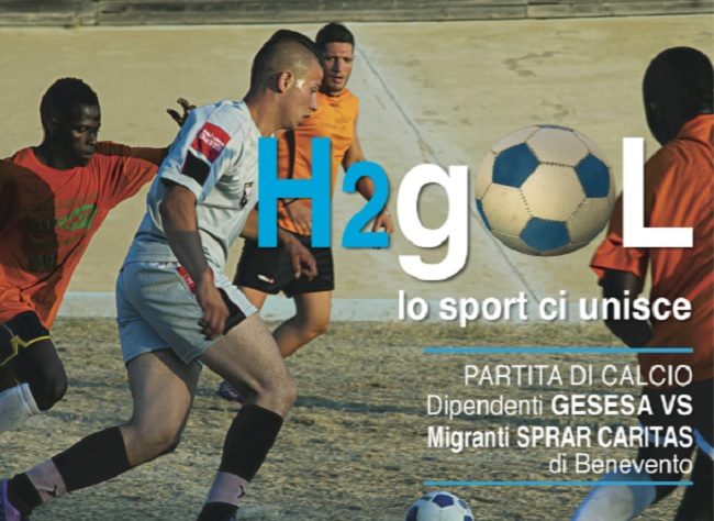 Benevento: prima partita di calcio tra i dipendenti GESESA e i Migranti degli SPRAR.