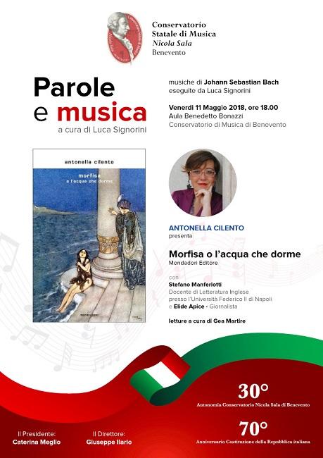 """Conservatorio di Benevento. Venerdì 11 Maggio la presentazione del libro """"Morfisa o l'acqua che dorme"""" di Antonella Cilento"""