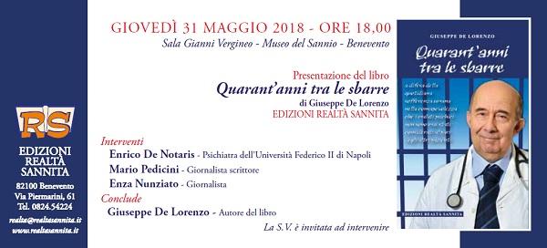 Giovedì 31 Maggio verrà presentato il nuovo libro di Giuseppe De Lorenzo