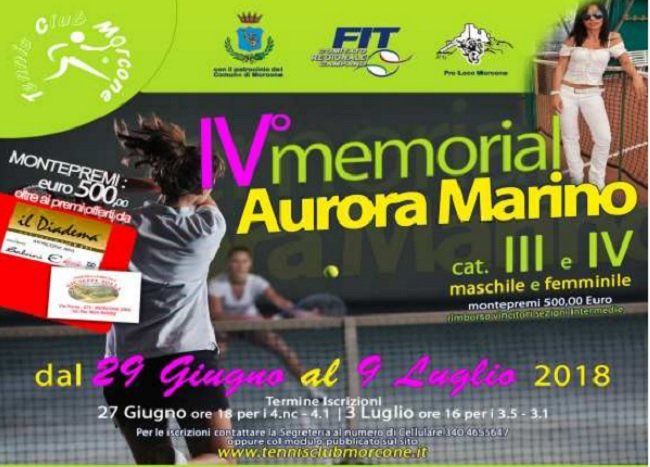 """Morcone IV Torneo di Tennis Memorial """"Aurora Marino"""".Aperte le iscrizioni."""
