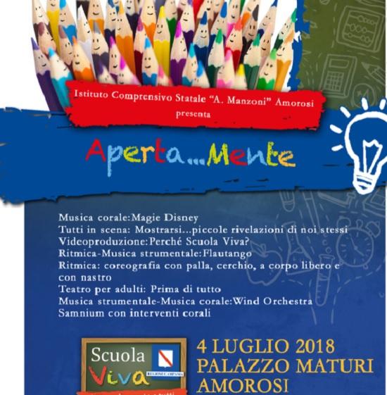 """Si chiude il 4 Luglio, all'Istituto Comprensivo """"A. Manzoni"""" di Amorosi,il programma """"Scuola Viva – Aperta…Mente"""""""