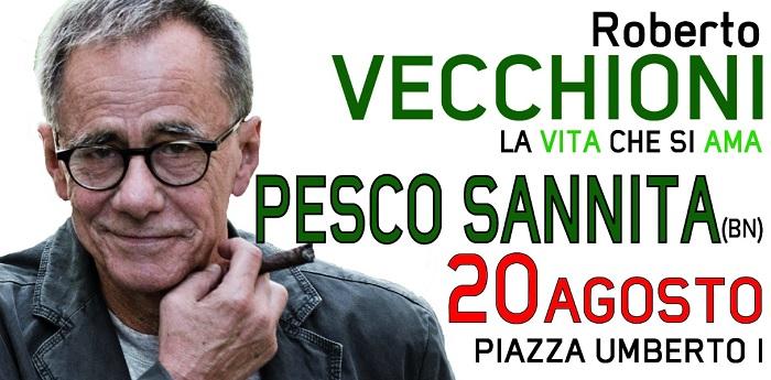 Fede e tradizione: serata finale della festa patronale a Pesco Sannita.Chiusura musicale con il cantante Roberto Vecchioni.