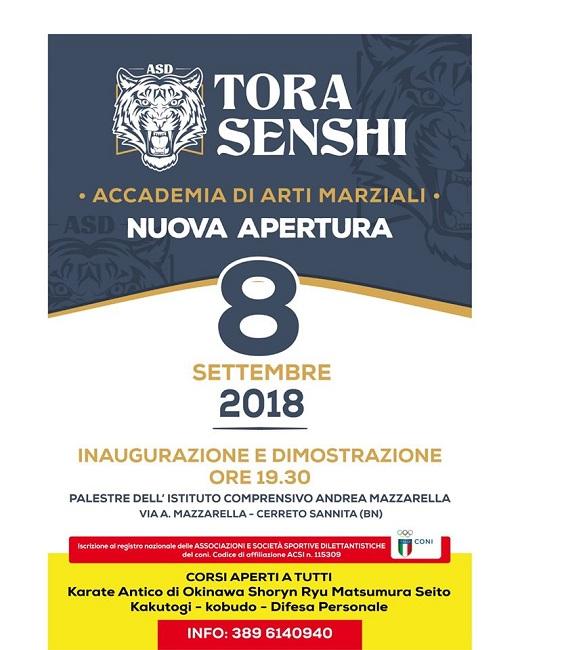"""Cerreto Sannita. Sabato 8 Settembre apre l'Accademia di Arti Marziali """"Tora Senshi"""""""