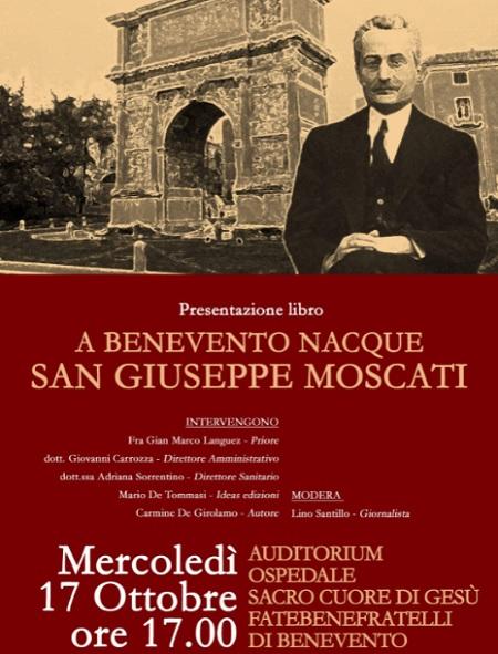 Mercoledì 17 Ottobre la presentazione del libro di Carmine De Girolamo, dedicato al Santo Beneventano San Giuseppe Moscati.