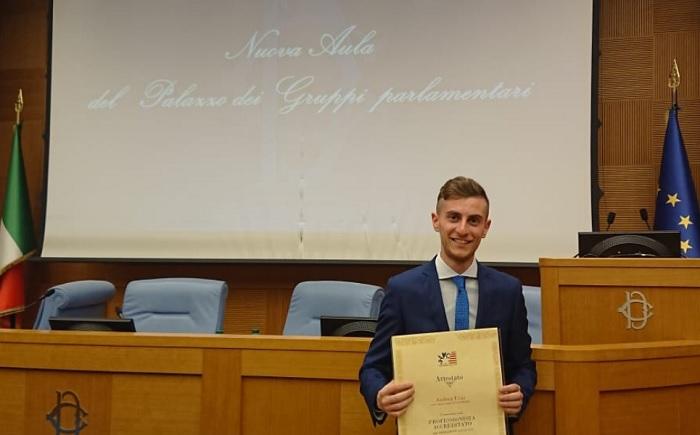 Laureato Unisannio premiato alla Camera dei Deputati come studente meritevole.