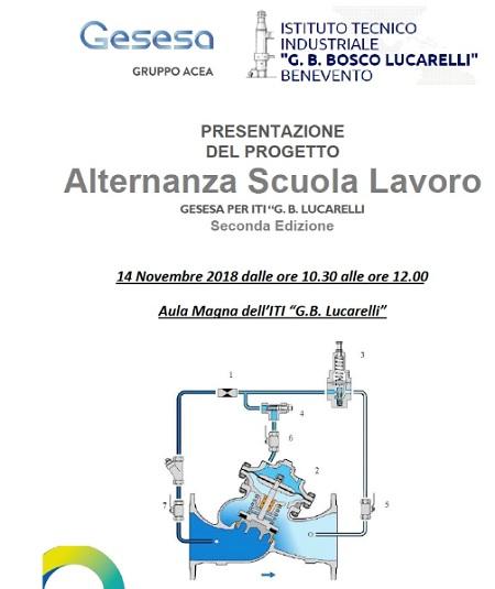 Presentazione del Nuovo Progetto di Alternanza Scuola Lavoro GESESA per l'Istituto Tecnico Industriale Bosco Lucarelli